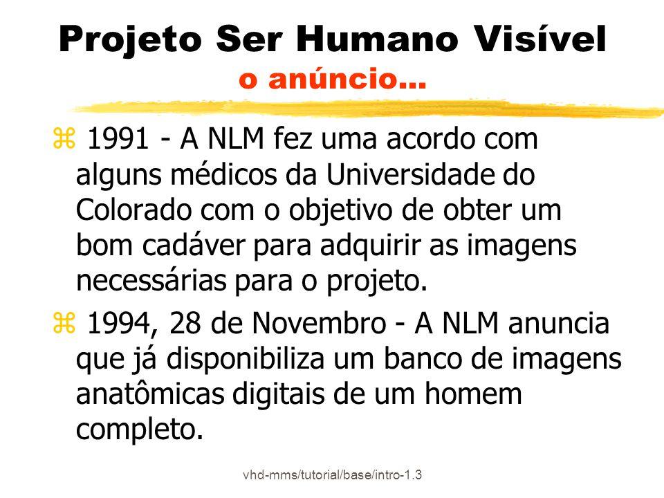 vhd-mms/tutorial/base/intro-1.3 Projeto Ser Humano Visível o anúncio... z 1991 - A NLM fez uma acordo com alguns médicos da Universidade do Colorado c
