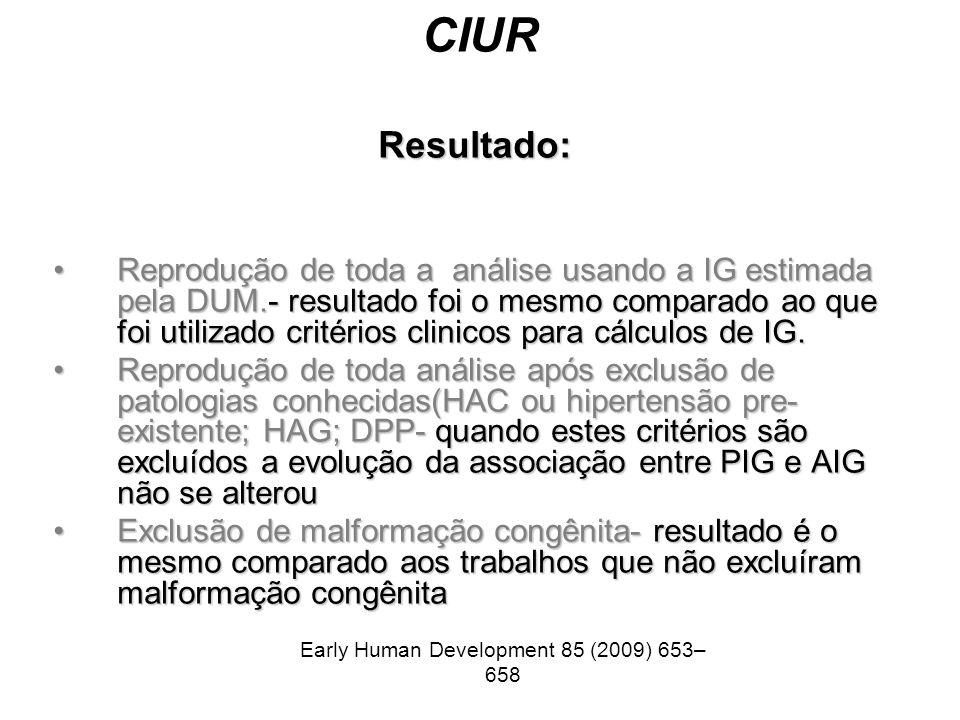 CIUR Resultado: Reprodução de toda a análise usando a IG estimada pela DUM.- resultado foi o mesmo comparado ao que foi utilizado critérios clinicos p
