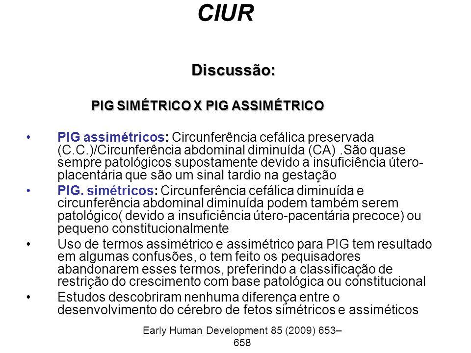 CIUR Discussão: PIG SIMÉTRICO X PIG ASSIMÉTRICO PIG SIMÉTRICO X PIG ASSIMÉTRICO PIG assimétricos: Circunferência cefálica preservada (C.C.)/Circunfer