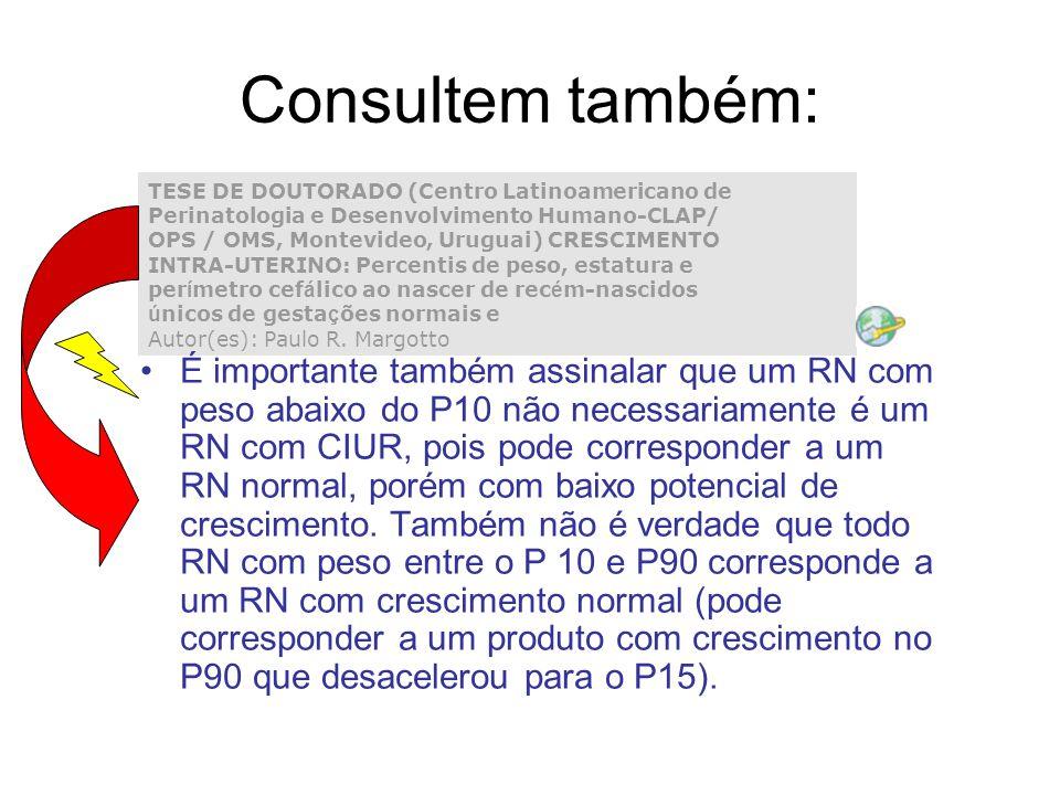 Consultem também: TESE DE DOUTORADO (Centro Latinoamericano de Perinatologia e Desenvolvimento Humano-CLAP/ OPS / OMS, Montevideo, Uruguai) CRESCIMENT