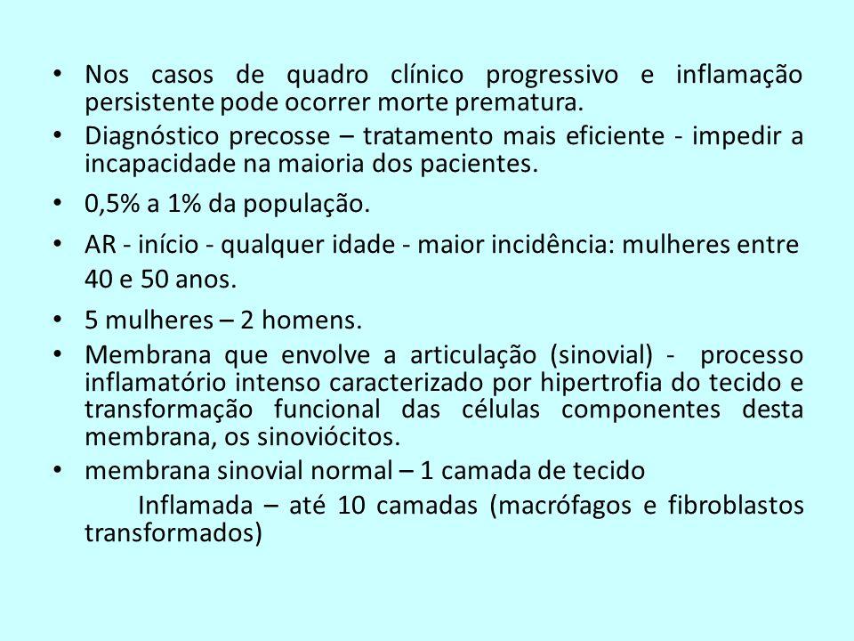 Nos casos de quadro clínico progressivo e inflamação persistente pode ocorrer morte prematura.