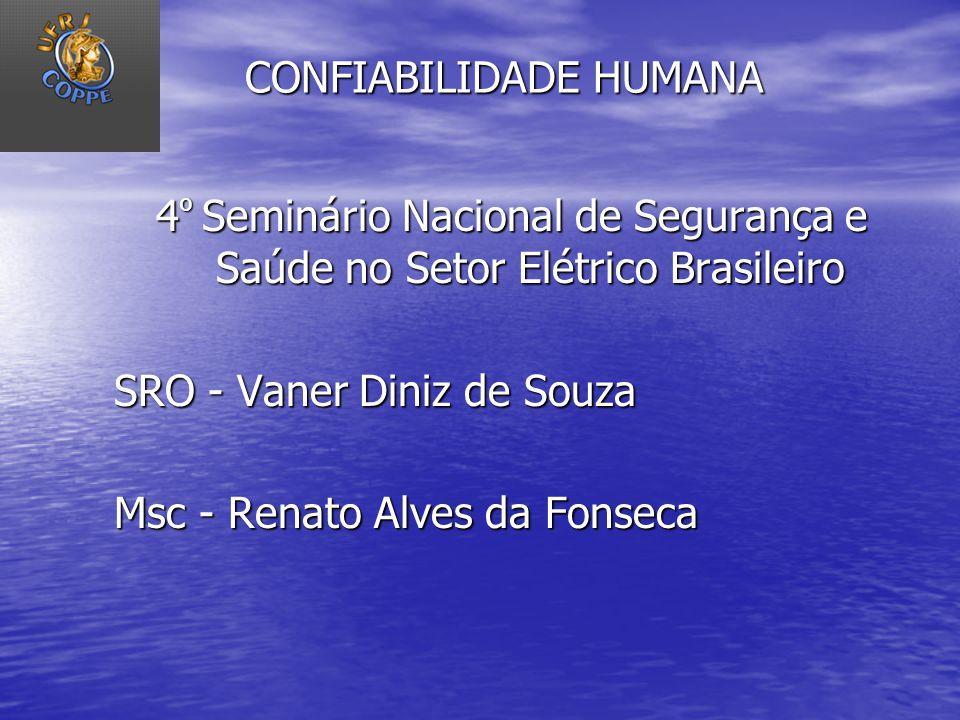 CONFIABILIDADE HUMANA 4 º Seminário Nacional de Segurança e Saúde no Setor Elétrico Brasileiro SRO - Vaner Diniz de Souza Msc - Renato Alves da Fonsec