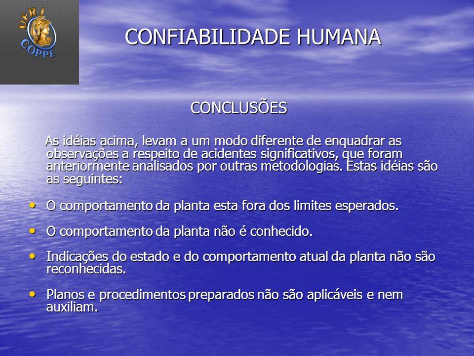 CONFIABILIDADE HUMANA CONCLUSÕES CONCLUSÕES As idéias acima, levam a um modo diferente de enquadrar as observações a respeito de acidentes significati
