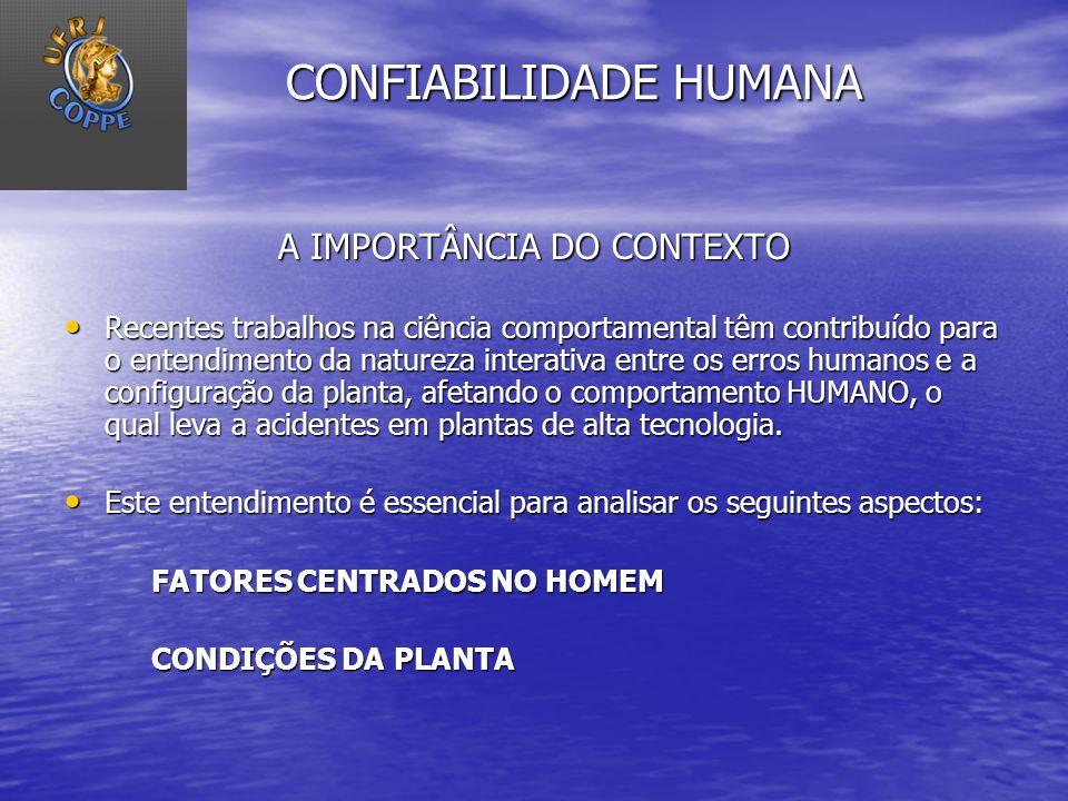 CONFIABILIDADE HUMANA A IMPORTÂNCIA DO CONTEXTO Recentes trabalhos na ciência comportamental têm contribuído para o entendimento da natureza interativ