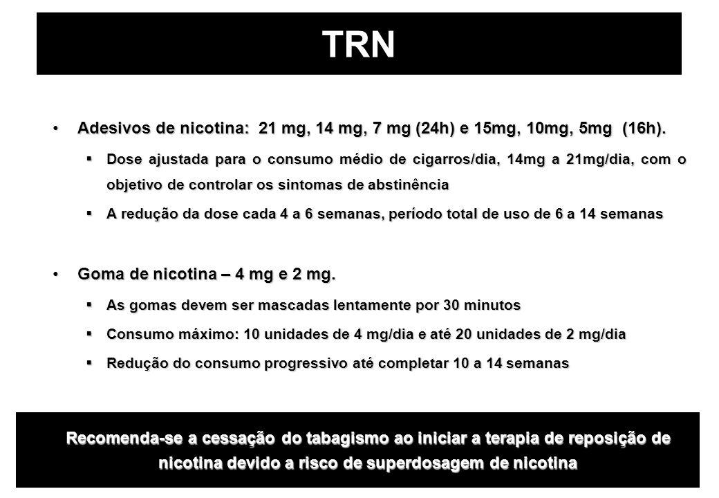 TRN Adesivos de nicotina: 21 mg, 14 mg, 7 mg (24h) e 15mg, 10mg, 5mg (16h).Adesivos de nicotina: 21 mg, 14 mg, 7 mg (24h) e 15mg, 10mg, 5mg (16h).  D