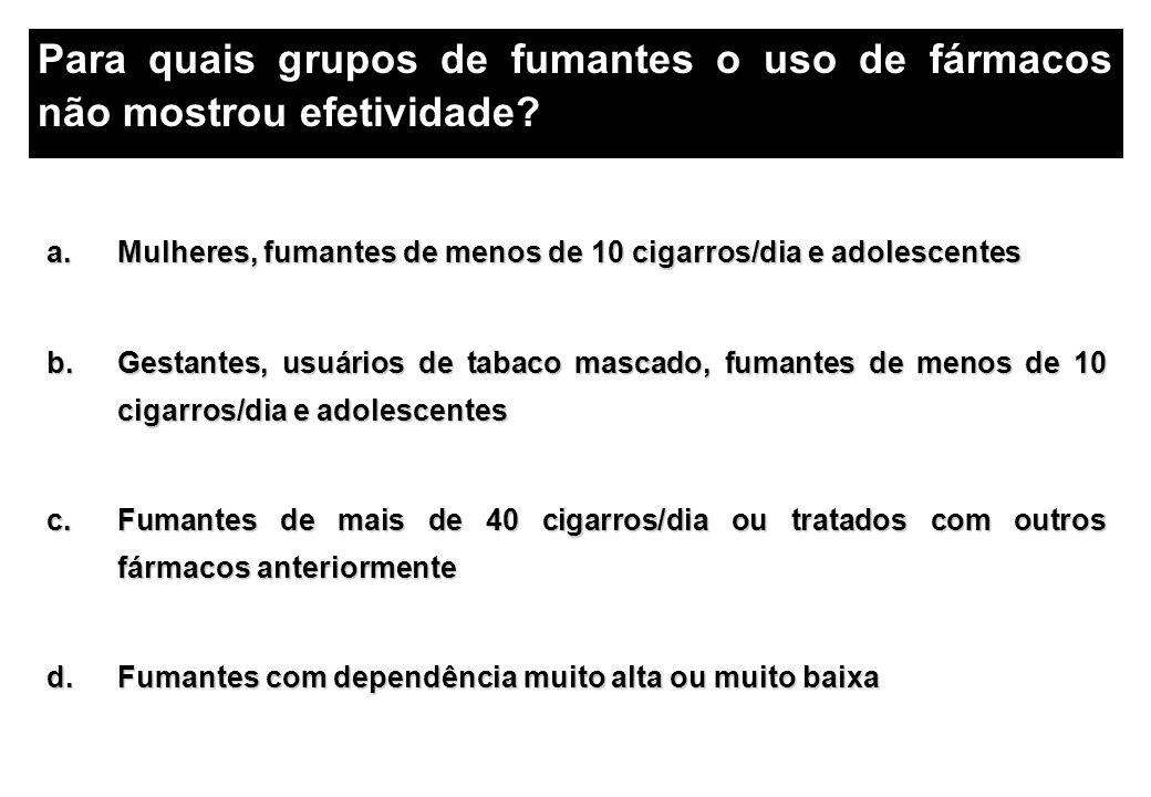a.Mulheres, fumantes de menos de 10 cigarros/dia e adolescentes b.Gestantes, usuários de tabaco mascado, fumantes de menos de 10 cigarros/dia e adoles