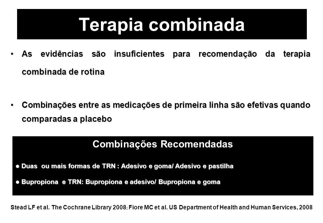 Terapia combinada Stead LF et al. The Cochrane Library 2008 ; Fiore MC et al. US Department of Health and Human Services, 2008 As evidências são insuf