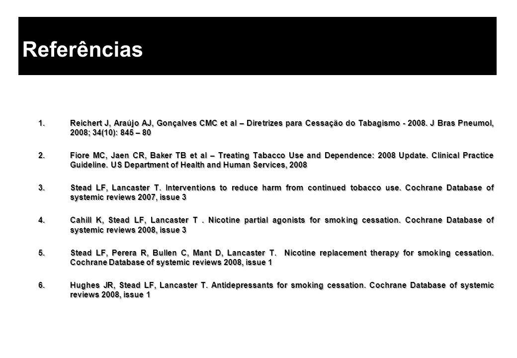 1.Reichert J, Araújo AJ, Gonçalves CMC et al – Diretrizes para Cessação do Tabagismo - 2008. J Bras Pneumol, 2008; 34(10): 845 – 80 2.Fiore MC, Jaen C