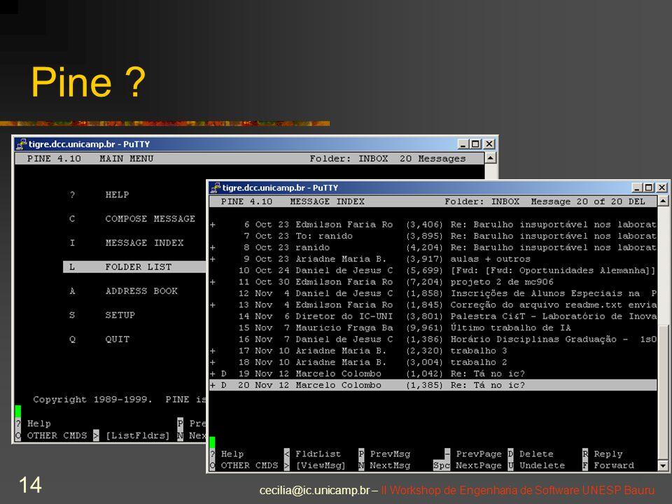 cecilia@ic.unicamp.br – II Workshop de Engenharia de Software UNESP Bauru 14 Pine ?