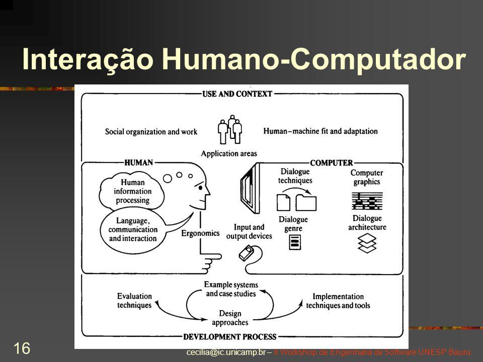 cecilia@ic.unicamp.br – II Workshop de Engenharia de Software UNESP Bauru 16 Interação Humano-Computador