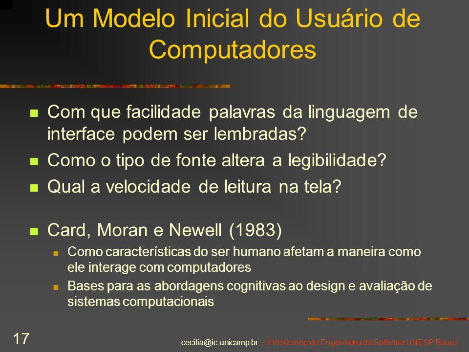 cecilia@ic.unicamp.br – II Workshop de Engenharia de Software UNESP Bauru 17 Um Modelo Inicial do Usuário de Computadores Com que facilidade palavras