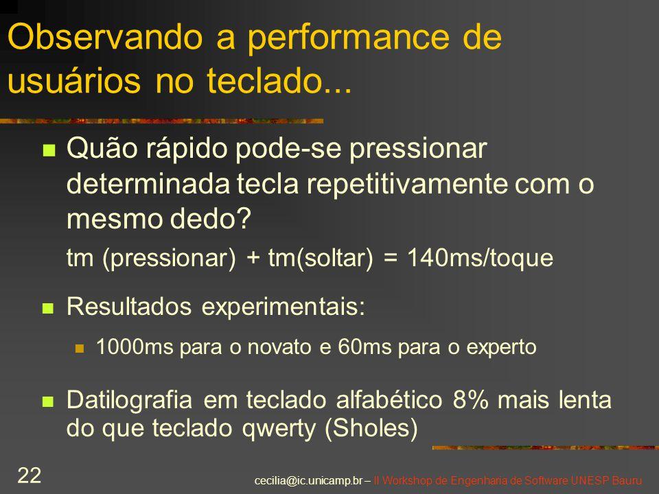 cecilia@ic.unicamp.br – II Workshop de Engenharia de Software UNESP Bauru 22 Observando a performance de usuários no teclado... Quão rápido pode-se pr