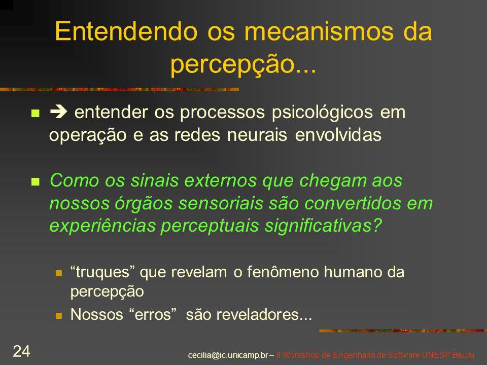cecilia@ic.unicamp.br – II Workshop de Engenharia de Software UNESP Bauru 24 Entendendo os mecanismos da percepção...  entender os processos psicológ