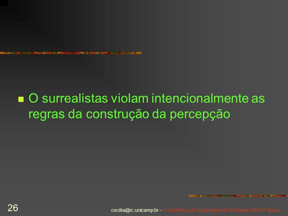 cecilia@ic.unicamp.br – II Workshop de Engenharia de Software UNESP Bauru 26 O surrealistas violam intencionalmente as regras da construção da percepç