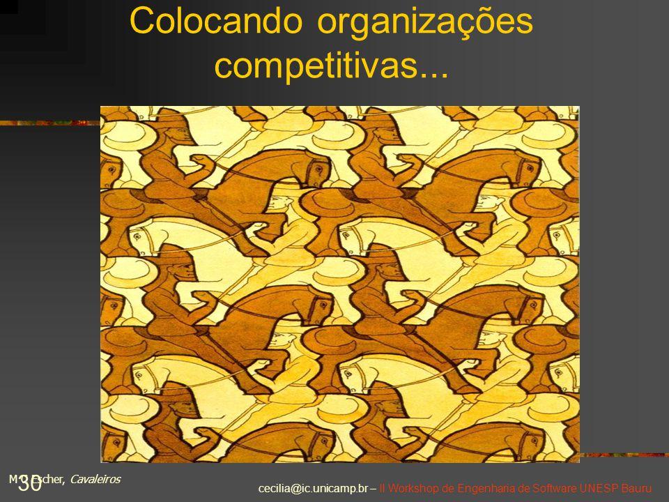 cecilia@ic.unicamp.br – II Workshop de Engenharia de Software UNESP Bauru 30 Colocando organizações competitivas... M C Escher, Cavaleiros