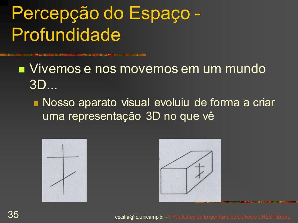 cecilia@ic.unicamp.br – II Workshop de Engenharia de Software UNESP Bauru 35 Percepção do Espaço - Profundidade Vivemos e nos movemos em um mundo 3D..