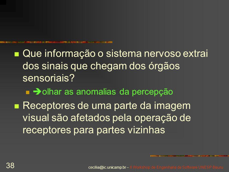 cecilia@ic.unicamp.br – II Workshop de Engenharia de Software UNESP Bauru 38 Que informação o sistema nervoso extrai dos sinais que chegam dos órgãos