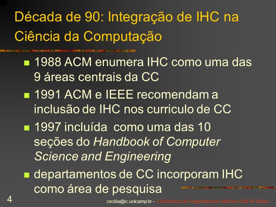 cecilia@ic.unicamp.br – II Workshop de Engenharia de Software UNESP Bauru 4 Década de 90: Integração de IHC na Ciência da Computação 1988 ACM enumera