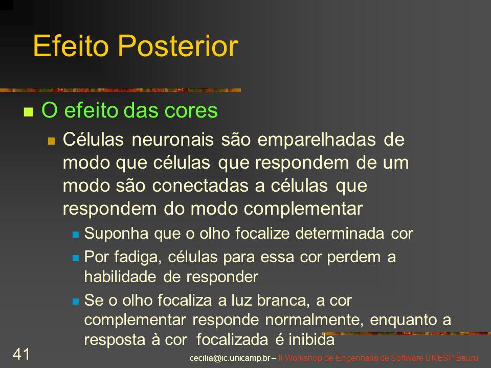 cecilia@ic.unicamp.br – II Workshop de Engenharia de Software UNESP Bauru 41 Efeito Posterior O efeito das cores Células neuronais são emparelhadas de