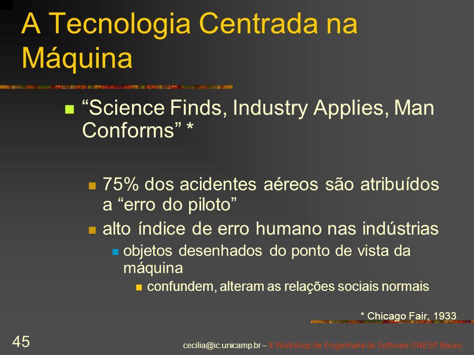 "cecilia@ic.unicamp.br – II Workshop de Engenharia de Software UNESP Bauru 45 A Tecnologia Centrada na Máquina ""Science Finds, Industry Applies, Man Co"
