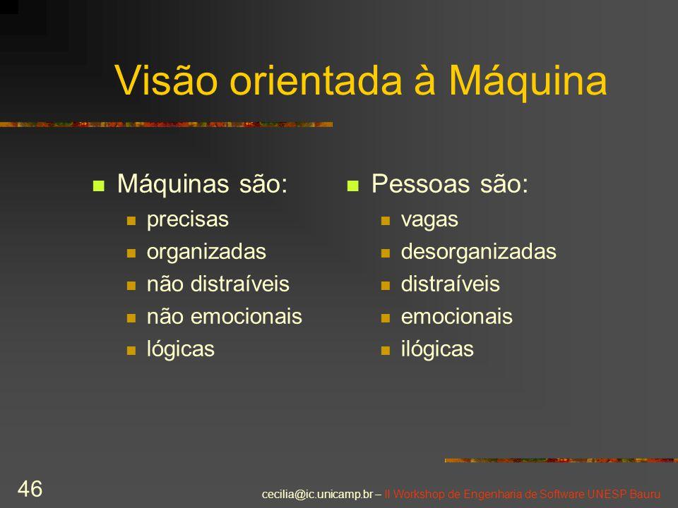 cecilia@ic.unicamp.br – II Workshop de Engenharia de Software UNESP Bauru 46 Visão orientada à Máquina Pessoas são: vagas desorganizadas distraíveis e