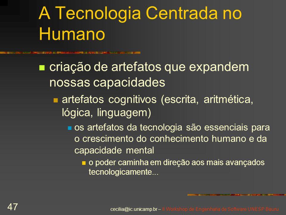 cecilia@ic.unicamp.br – II Workshop de Engenharia de Software UNESP Bauru 47 A Tecnologia Centrada no Humano criação de artefatos que expandem nossas