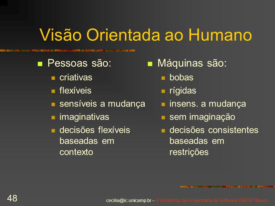 cecilia@ic.unicamp.br – II Workshop de Engenharia de Software UNESP Bauru 48 Visão Orientada ao Humano Pessoas são: criativas flexíveis sensíveis a mu