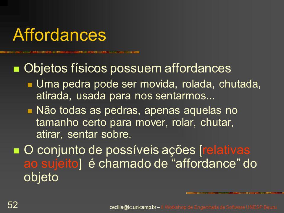 cecilia@ic.unicamp.br – II Workshop de Engenharia de Software UNESP Bauru 52 Affordances Objetos físicos possuem affordances Uma pedra pode ser movida