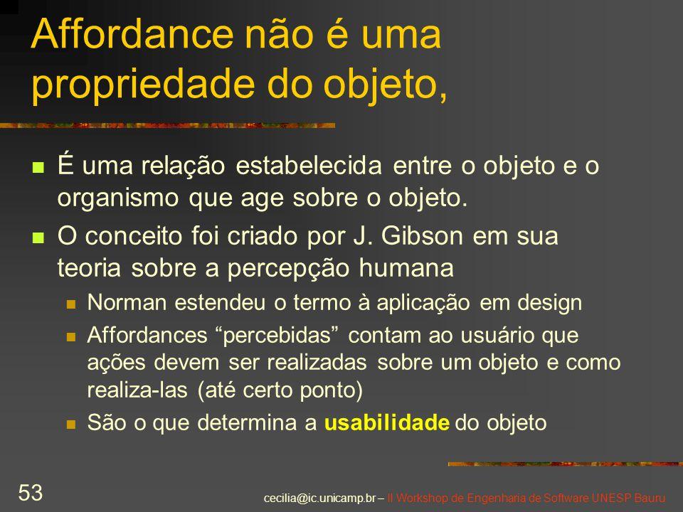 cecilia@ic.unicamp.br – II Workshop de Engenharia de Software UNESP Bauru 53 Affordance não é uma propriedade do objeto, É uma relação estabelecida en