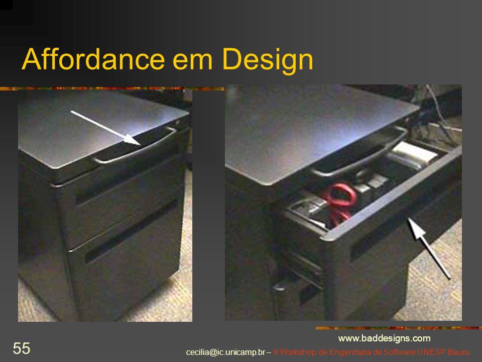 cecilia@ic.unicamp.br – II Workshop de Engenharia de Software UNESP Bauru 55 Affordance em Design www.baddesigns.com