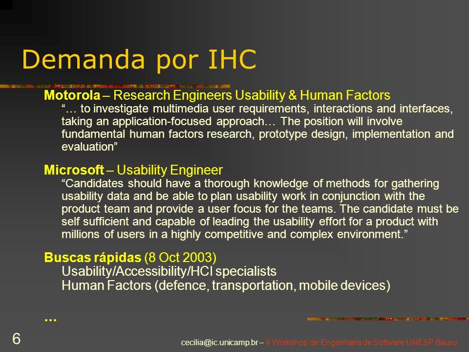 "cecilia@ic.unicamp.br – II Workshop de Engenharia de Software UNESP Bauru 6 Demanda por IHC Motorola – Research Engineers Usability & Human Factors ""…"