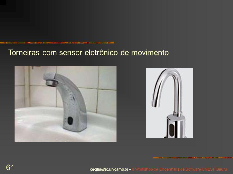 cecilia@ic.unicamp.br – II Workshop de Engenharia de Software UNESP Bauru 61 Torneiras com sensor eletrônico de movimento