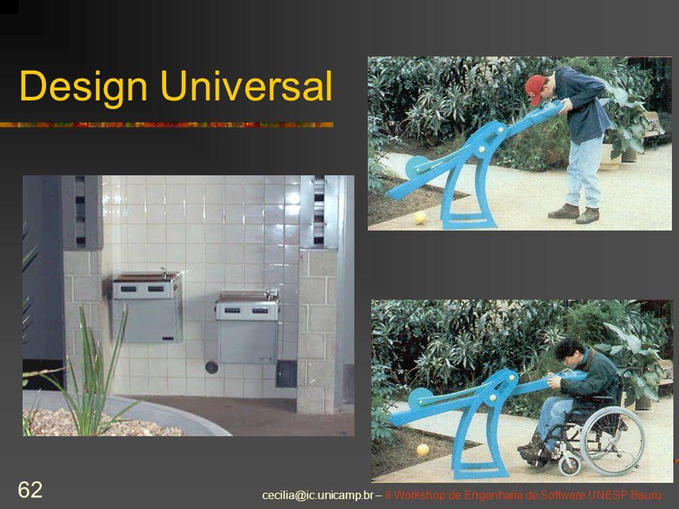 cecilia@ic.unicamp.br – II Workshop de Engenharia de Software UNESP Bauru 62 Design Universal