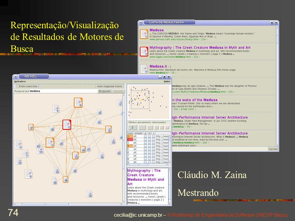 cecilia@ic.unicamp.br – II Workshop de Engenharia de Software UNESP Bauru 74 Cláudio M. Zaina Mestrando Representação/Visualização de Resultados de Mo