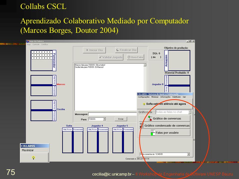 cecilia@ic.unicamp.br – II Workshop de Engenharia de Software UNESP Bauru 75 Collabs CSCL Aprendizado Colaborativo Mediado por Computador (Marcos Borg