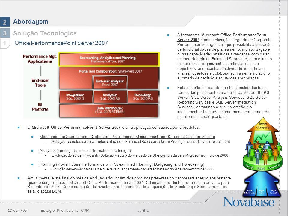 19-Jun-07Estágio Profissional CPM.: 8 :. Abordagem O Microsoft Office PerformancePoint Server 2007 é uma aplicação constituída por 3 produtos: Monitor