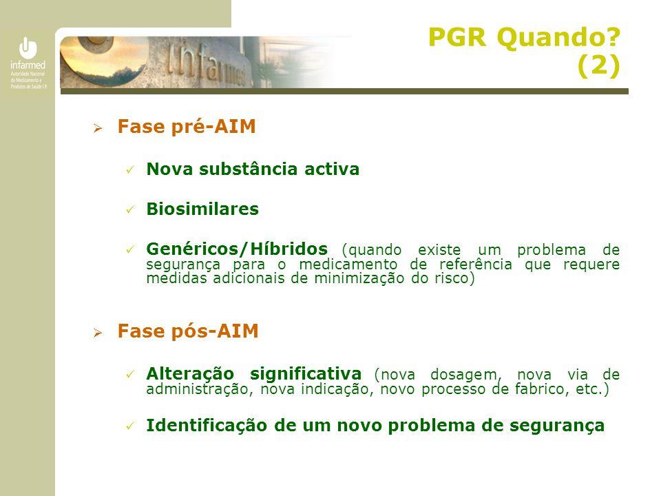 PGR Quando? (2)  Fase pré-AIM Nova substância activa Biosimilares Genéricos/Híbridos (quando existe um problema de segurança para o medicamento de re