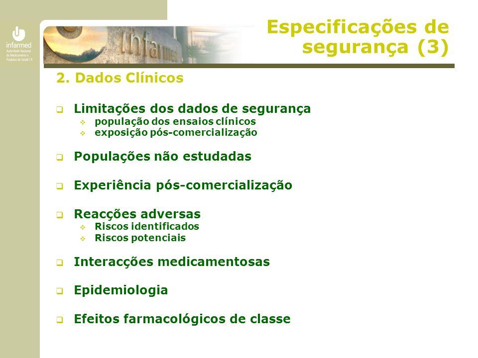 Especificações de segurança (3) 2. Dados Clínicos  Limitações dos dados de segurança  população dos ensaios clínicos  exposição pós-comercialização