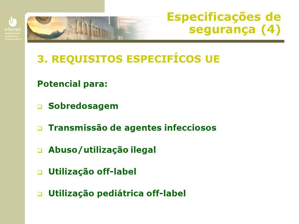 Especificações de segurança (4) 3. REQUISITOS ESPECIFÍCOS UE Potencial para:  Sobredosagem  Transmissão de agentes infecciosos  Abuso/utilização il