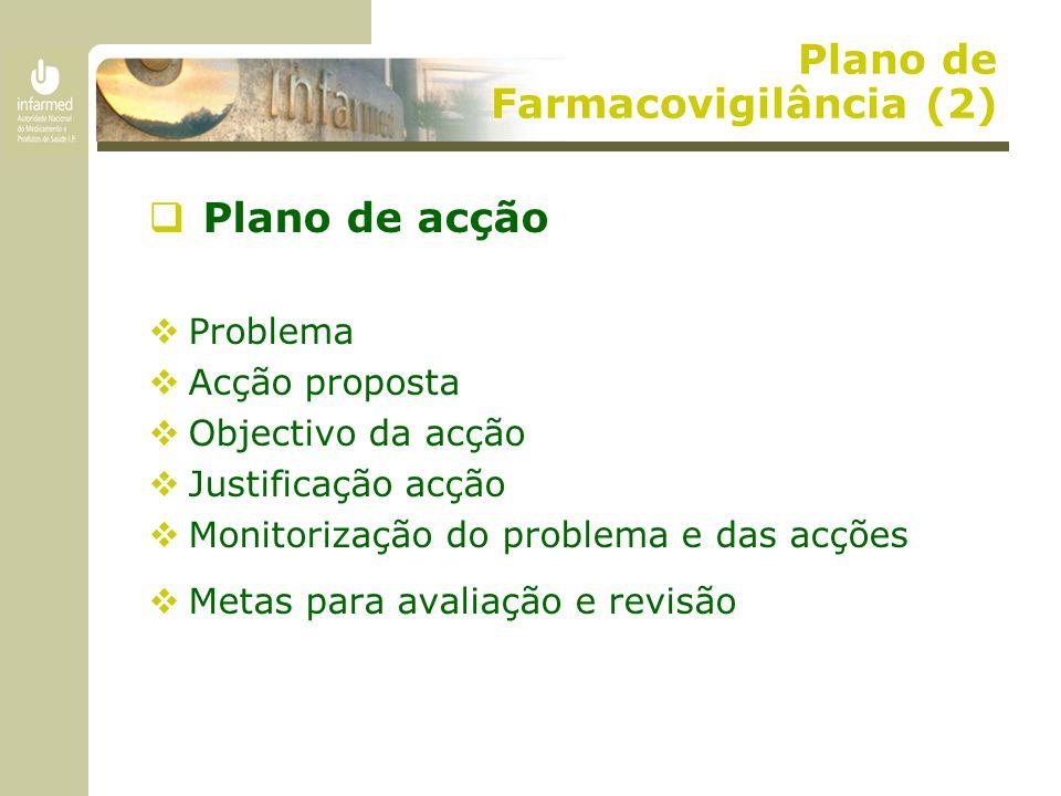 Plano de Farmacovigilância (2)  Plano de acção  Problema  Acção proposta  Objectivo da acção  Justificação acção  Monitorização do problema e da