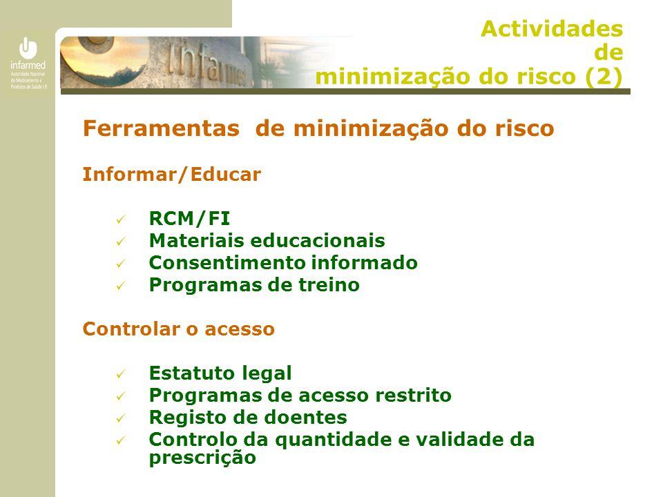 Actividades de minimização do risco (2) Ferramentas de minimização do risco Informar/Educar RCM/FI Materiais educacionais Consentimento informado Programas de treino Controlar o acesso Estatuto legal Programas de acesso restrito Registo de doentes Controlo da quantidade e validade da prescrição