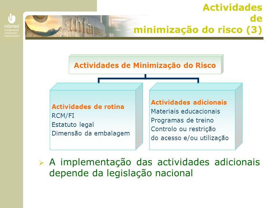  A implementação das actividades adicionais depende da legislação nacional Actividades de Minimização do Risco Actividades de rotina RCM/FI Estatuto