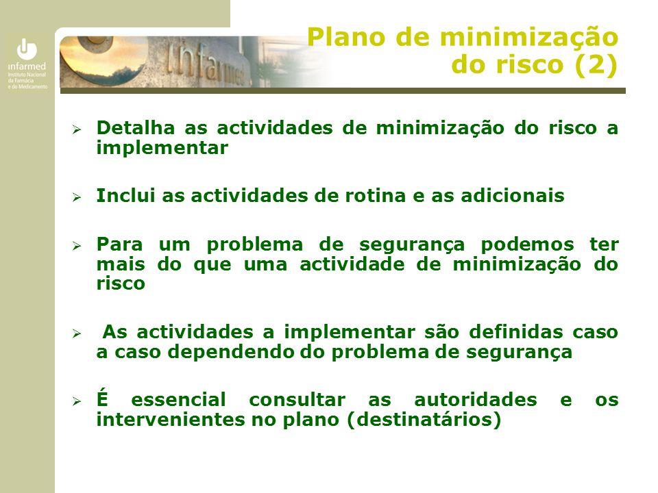 Plano de minimização do risco (2)  Detalha as actividades de minimização do risco a implementar  Inclui as actividades de rotina e as adicionais  P