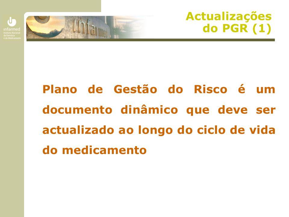 Actualizações do PGR (1) Plano de Gestão do Risco é um documento dinâmico que deve ser actualizado ao longo do ciclo de vida do medicamento