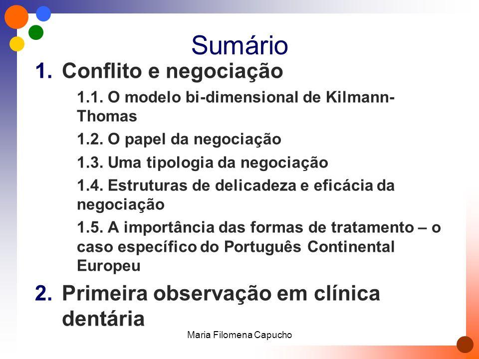 Sumário 1.Conflito e negociação 1.1. O modelo bi-dimensional de Kilmann- Thomas 1.2. O papel da negociação 1.3. Uma tipologia da negociação 1.4. Estru