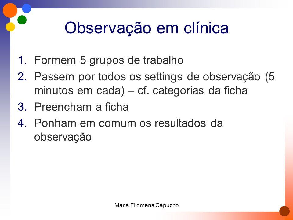 Observação em clínica 1.Formem 5 grupos de trabalho 2.Passem por todos os settings de observação (5 minutos em cada) – cf. categorias da ficha 3.Preen
