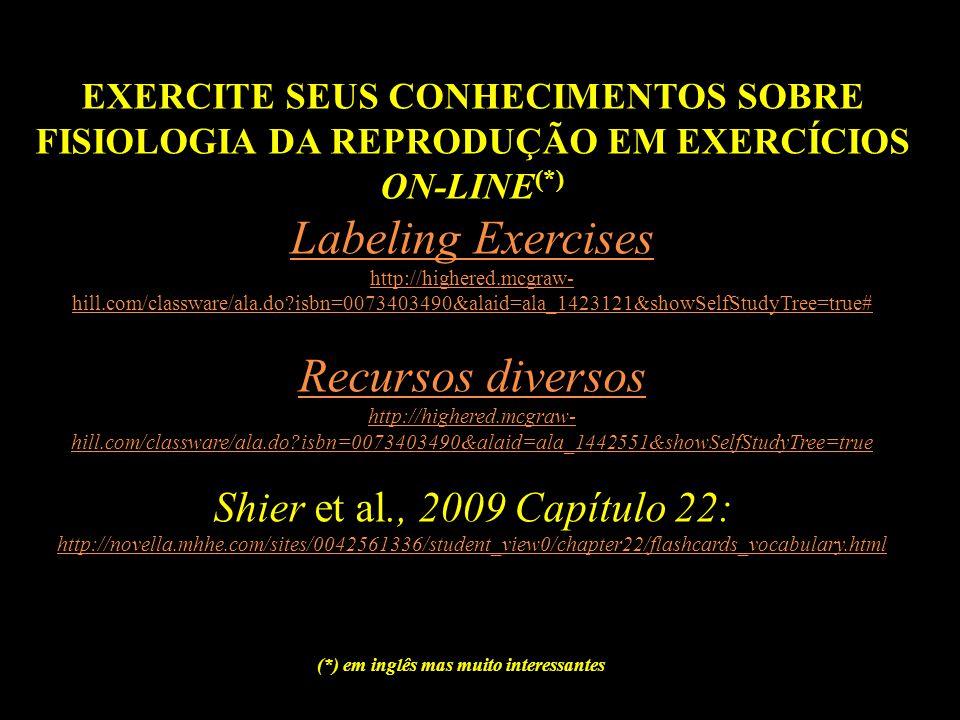 EXERCITE SEUS CONHECIMENTOS SOBRE FISIOLOGIA DA REPRODUÇÃO EM EXERCÍCIOS ON-LINE (*) Labeling Exercises http://highered.mcgraw- hill.com/classware/ala.do?isbn=0073403490&alaid=ala_1423121&showSelfStudyTree=true# Recursos diversos http://highered.mcgraw- hill.com/classware/ala.do?isbn=0073403490&alaid=ala_1442551&showSelfStudyTree=true Shier et al., 2009 Capítulo 22: http://novella.mhhe.com/sites/0042561336/student_view0/chapter22/flashcards_vocabulary.html (*) em inglês mas muito interessantes