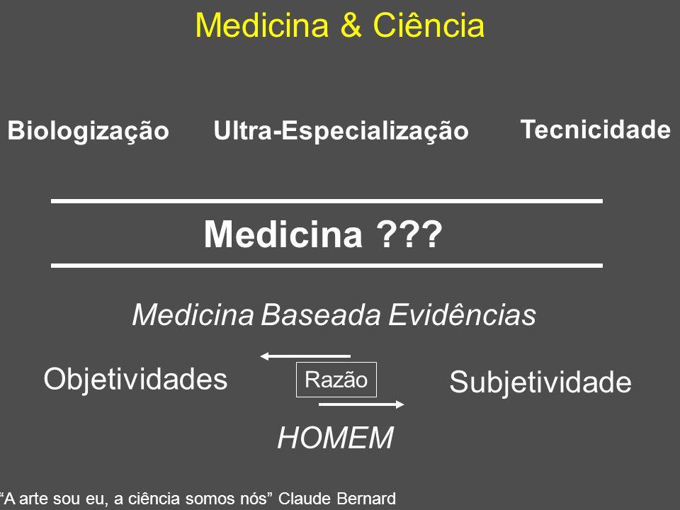 """Medicina & Ciência Medicina ??? Medicina Baseada Evidências Subjetividade Razão """"A arte sou eu, a ciência somos nós"""" Claude Bernard Ultra-Especializaç"""