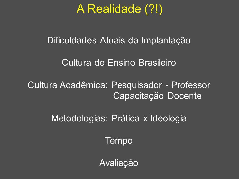 A Realidade (?!) Dificuldades Atuais da Implantação Cultura de Ensino Brasileiro Cultura Acadêmica: Pesquisador - Professor Capacitação Docente Metodo