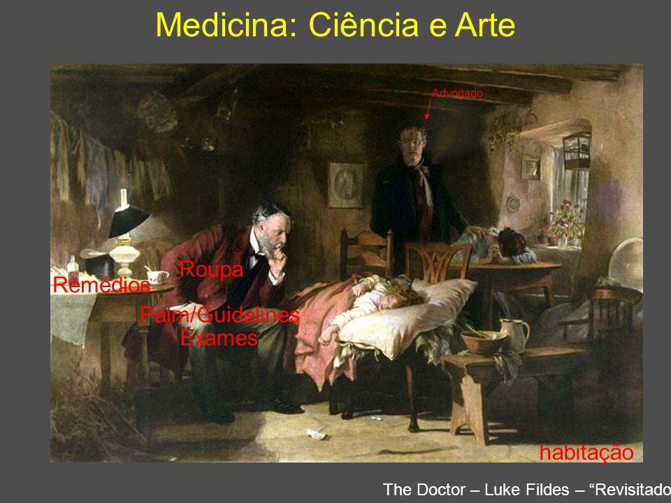 Medicina: Ciência e Arte Amanhã ??? Quadro do médico ontem e hoje Exames Palm/Guidelines Remédios Advogado Roupa habitação The Doctor – Luke Fildes –